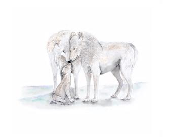 Wolf Print, Arctic Nursery Art, Animal Painting, Arctic Wolf, Wolf Nursery Print, Gray White