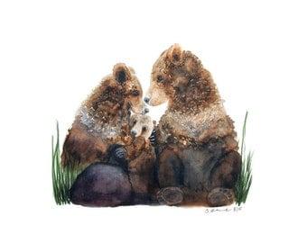 Bear Family Painting, Woodland Nursery Art, Bear Watercolor, Bear Nursery, Woodland Painting, Woodland Nursery, Baby Art, Childrens Wall Art