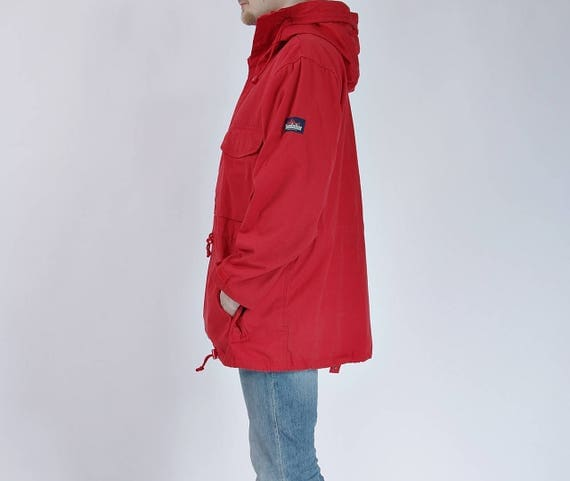 80s Kandahar  Red Arctic Cotton Anorak Jacket with Snorkel Hood / Size XL or oversized