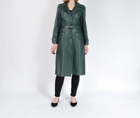 SALE! 70s County real leather emerald green womens street style fitted coat / size 38 (M)