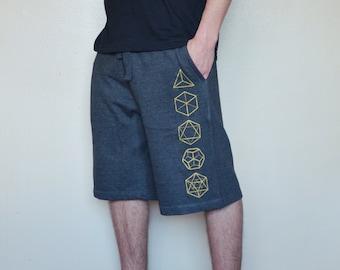 Platonic Solids Sweat Shorts - Men's Shorts - Sacred Geometry Shorts - Glow in the Dark Festival Shorts - Mens Workout Shorts