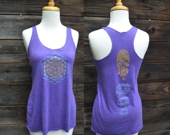 Glow in the Dark and Gold Flower of Life and Dreamcatcher Racerback - Women's Purple Racerback - Yoga Tank Top  - Sacred Geometry Tank Top