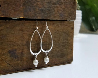 Sterling Silver Drop Earrings,  Bridal Earrings, Drop Earrings, Silver Earrings, Dangle Earrings, Simple Earrings, Dainty Earring