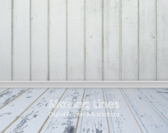 white wood wall baby photography backdrop weathered floor drop distressed background digital photo