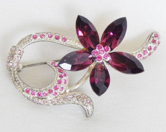 Amethyst Purple And Pink Crystal Flower Pin - Happy Elegance - Pretty For Spring