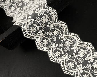 """3"""" Vintage Off White Embroidered Lace Trim by 1 Yard, TR-11410"""