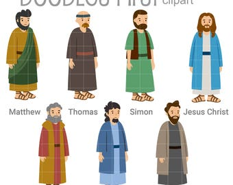 Jesus Christ and 6 of the 12 Disciples Digital Clip Art for Scrapbooking Card Making Cupcake Toppers Paper Crafts