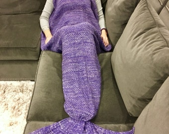 Purple Adult Mermaid Tail Blanket