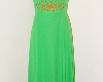 Vintage 1970s Lime Green Empire waist Maxi dress with Beading design in size 14