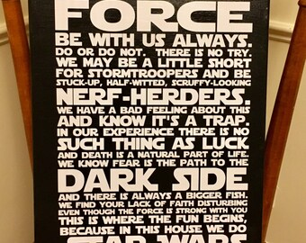14x18 CANVAS In this house we do STAR WARS, Star Wars Quotes, Star Wars Art, Star Wars Canvas