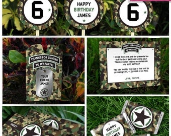 Army Party Invitation & Party Decorations - Army Birthday - INSTANT DOWNLOAD - EDIT and print at home using Adobe Reader