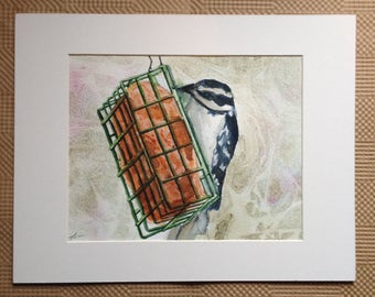 Downy Woodpecker Watercolor Painting - Original Painting - Woodpecker Painting - Watercolor Woodpecker Bird Painting