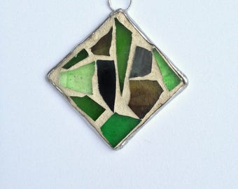 Stained Glass Ornament Mosaic Green Stained Glass Mosaic Christmas Ornament Green Mosaic - Green Tree Ornament Abstract