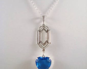 Blue Heart Rhinestone Necklace Victorian Inspired