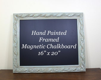 Decorative Chalkboard Magnetic Framed Chalkboard, Aqua Teal Kitchen Decor Black Board, Magnetic Wall Organizer, Painted Frame Chalk Board