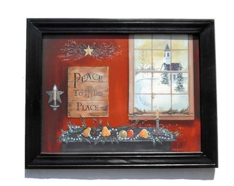 Christmas Art, Peace to this Place, Wall Hanging, Church Picture, Country Decor, Handmade, 28 X 22, Custom Wood Frame, Made in the USA