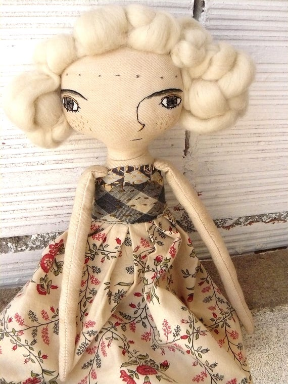 Art doll. Merino wool hair. Hand embroidered. 35 cm