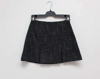 90's Black Plaid Pleated Clueless Preppy Mini Skirt
