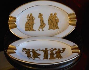 A Pair of Gerold Porzellan Bavaria Ashtrays w/ Classical Figures