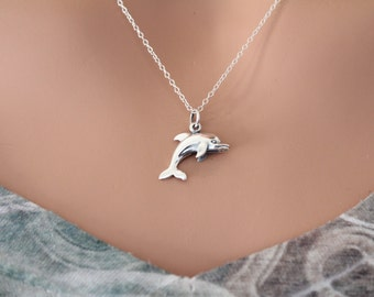 Sterling Silver Dolphin Necklace, Silver Dolphin Charm Necklace, Realistic Dolphin Charm Necklace, Ocean Animal Dolphin Necklace