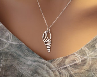 Sterling Silver Shell Charm Necklace, Sea Shell Cutout Necklace, Shell Necklace, Large Shell Necklace, Shell Pendant Necklace, Silver Shell