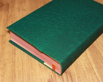 Green Vegan Faux Leather Custom Fitted Book Cover and Protector Using Ostrich Look Upholstery Weight Fabric