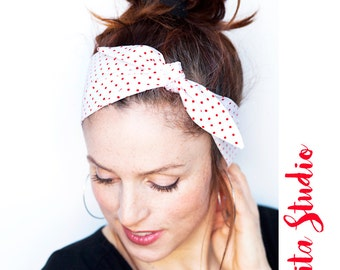 Red Polka Dot Headband  Dolly Bow Rockabilly Red and White Pinup Bandana Retro Hair Accessories Vintage Hair Scarf Rosie the Riveter Style