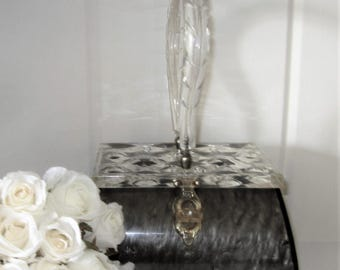 Vintage Lucite Original Rialto N.Y. Clear Carved Top Gray Marblized Swirl Box Purse Evening Bag - Signed