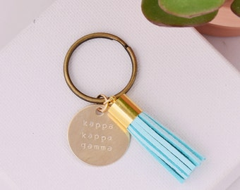 Kappa Kappa Gamma Sorority Keychain, Personalized Kappa Sorority Key Chain, KKG Sorority Tassel Keychains, Big Little Keychain