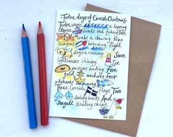 Cornwall Cornish Christmas Holiday Card -   The Twelve days of Cornish Christmas -