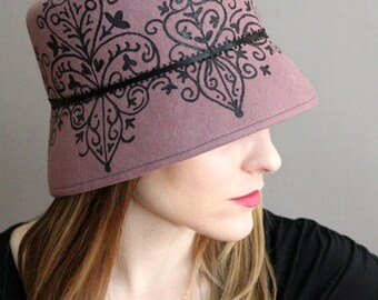 Rose Wool Felt Cloche with Hand Painted Black Damask Pattern and Ribbon Trim