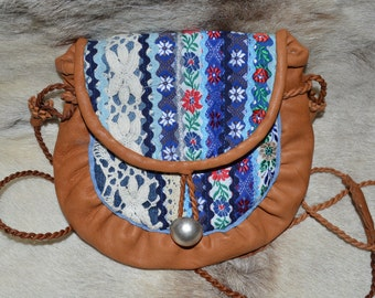 Saami bag.Sápmi. Modern sisna bag, with flower ribbons. Handmade in Finland.