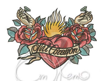 MACHINE EMBROIDERY DESIGN - Old school tattoo embroidery, Mi corazon embroidery, Heart embroidery