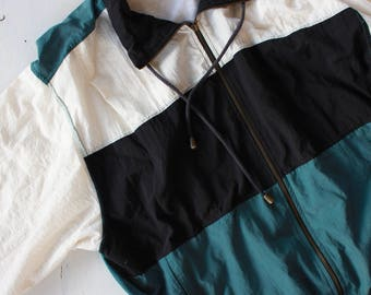 LARGE | 80's Color Block Windbreaker