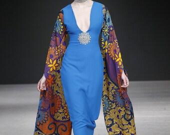 Long Maxi Pencil Dress with Long Ankara Sleeve
