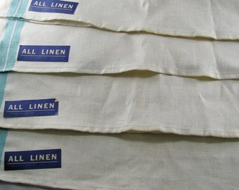 Vintage Green Striped, All Linen Company, Retro Kitchen Never Used, Farmhouse Kitchen Decor Tea Towels, Vintage Textile Towels Set 4