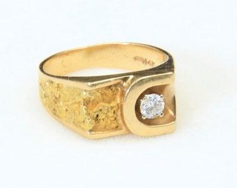 Vintage Mens 14k Yellow Gold Diamond & Nugget Ring Horse Shoe Good Luck Sz 7.5