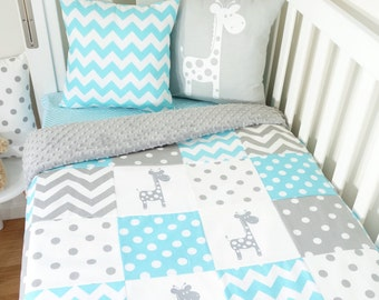 Aqua and grey giraffe patchwork nursery items (Grey minky quilt backing)
