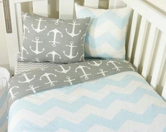 Baby blue and grey nautical anchor nursery set items