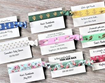 Personalized Hair Tie Cards-Party Favors Hair Ties Cards-Thank You Cards-Custom Party Favors Cards