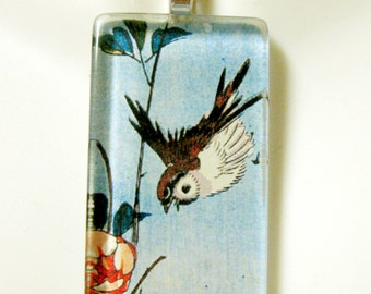 Sparrow and wild rose by Ando Hiroshige glass pendant - BGP02-038