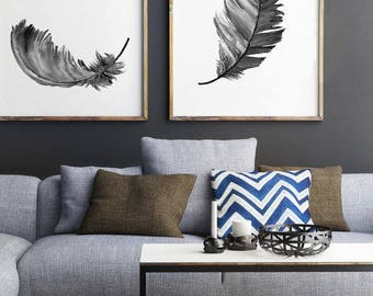 Feather Illustration, Gray Feathers set 2 Art Prints, Black White Minimalist Wall Decoration, Native American Feather Print, Grey Painting