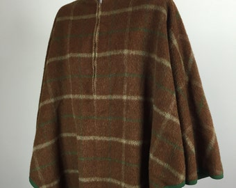 brown plaid flannel wool cape poncho 50s