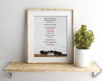 First Home Gift,Housewarming Present,New House,Irish Blessing,Moving Gift,Home Owner Gift,House Warming Gift,New House Gift,New Home Print