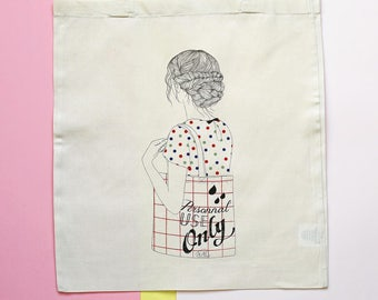 Personnal Use Only organic cotton printed tote bag