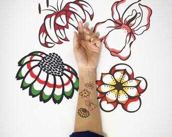 Set of 4 - Wildflowers Temporary Tattoo / Spring Temporary Tattoo / Floral Temporary Tattoo / Nature Temporary Tattoo / Flower Flash Tattoo