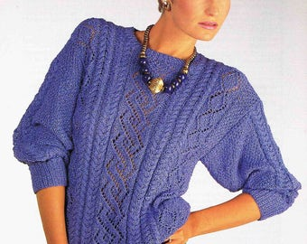 b097c39a9 Lady s Round Neck Sweater Pullover Jumper - Size 76 to 102 cm (30 to 40  inch) - Sirdar DK 7037 - Vintage Retro Knitting Pattern