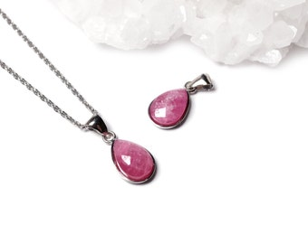 Petite Genuine Ruby Necklace - Natural Ruby Jewelry, Red Gemstone Necklace, Delicate Necklace, Affordable Jewelry