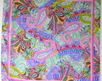 Vintage Silk Scarf 90s Knock Out Psychedelic Pink Paisley by Talbots in Perfect Condition
