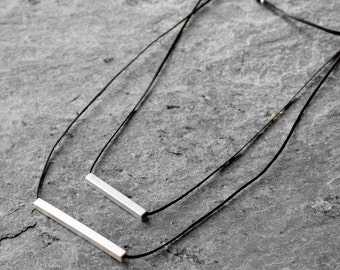 Geometric necklace, Asymmetrical bars necklace minimalistic necklace, geometric necklace, Sterling silver necklace, modern necklace